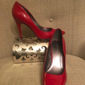 Via Spiga red patent leather pumps
